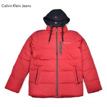 Calvin Klein Jeans / CK White Duck Down Jacket Men's Hooded Outerwear Casual Winter Warm Coat Men Hat Detachable Overcoat