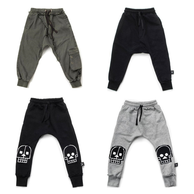 f0a05a94a Boys Pants Nununu 2018 Kids Girl Harem Pants Trousers Baby Boy Girl French  Terry Skull Robot Patch Baggy Pants Children Clothes