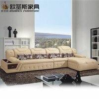 Nuevo Modelo en forma de L moderno Italia cuero genuino sección última esquina muebles de sala sofá conjunto L20