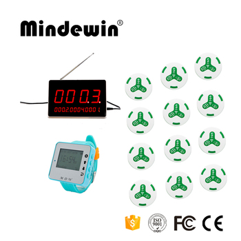 Mindewin 433MHz Wireless 1 Watch Receiver+1 LED Display Receiver+12 Calling Transmitter Button Call Pager Restaurant Equ