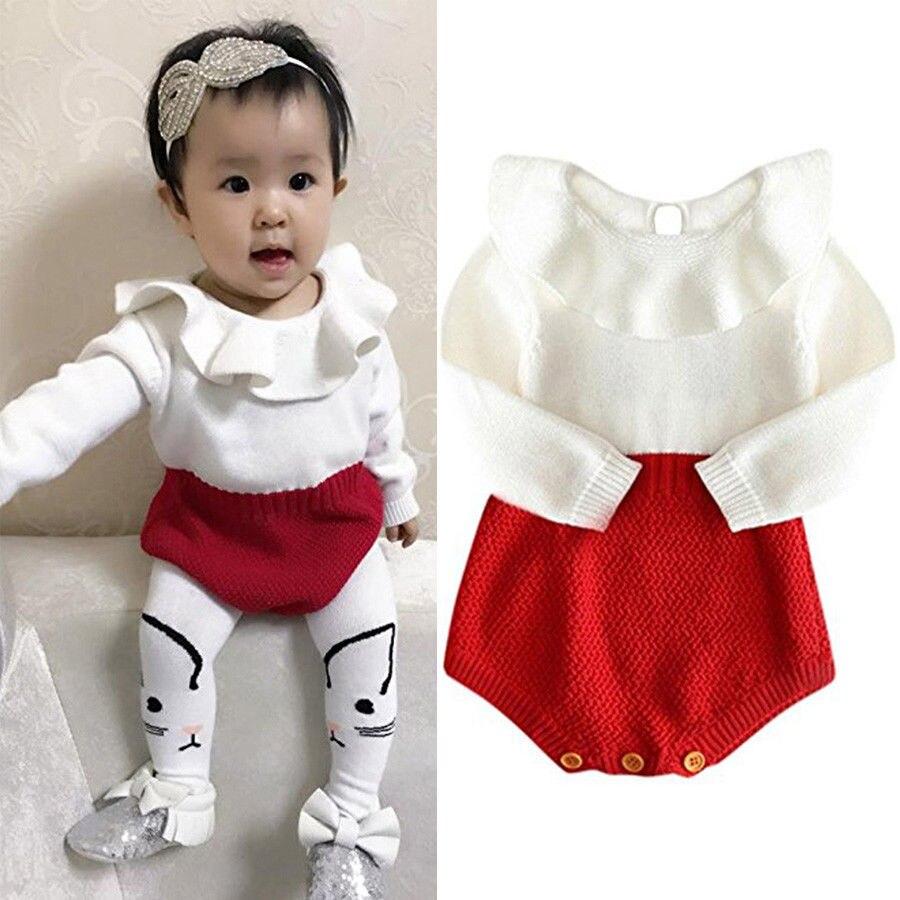 da77decdce3f Baby Rompers Newborn Baby Girl Wool Knitted Top Peter Pan Collar ...