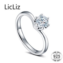 LicLiz 925 Sterling Silver CZ Crystal V Shape Cuff Rings for Women White Gold Open Adjustable Ring Jewelry Clear&Purle CZ LR0701 chic feather shape cuff ring for women