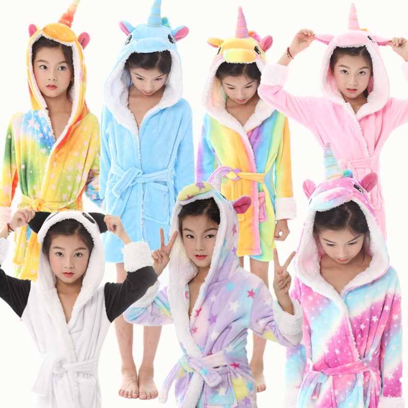 EOICIOI Baby Animal Bathrobe For Boys Girls Flannel Hooded Unicorn Towel Robe Winter Sweet Warm Kids Sleepwear Children Clothes