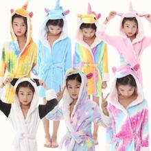 EOICIOI Baby Animal Bathrobe For Boys Girls Flannel Hooded Unicorn Towel Robe Winter Sweet Warm Kids Sleepwear Children Clothes недорого