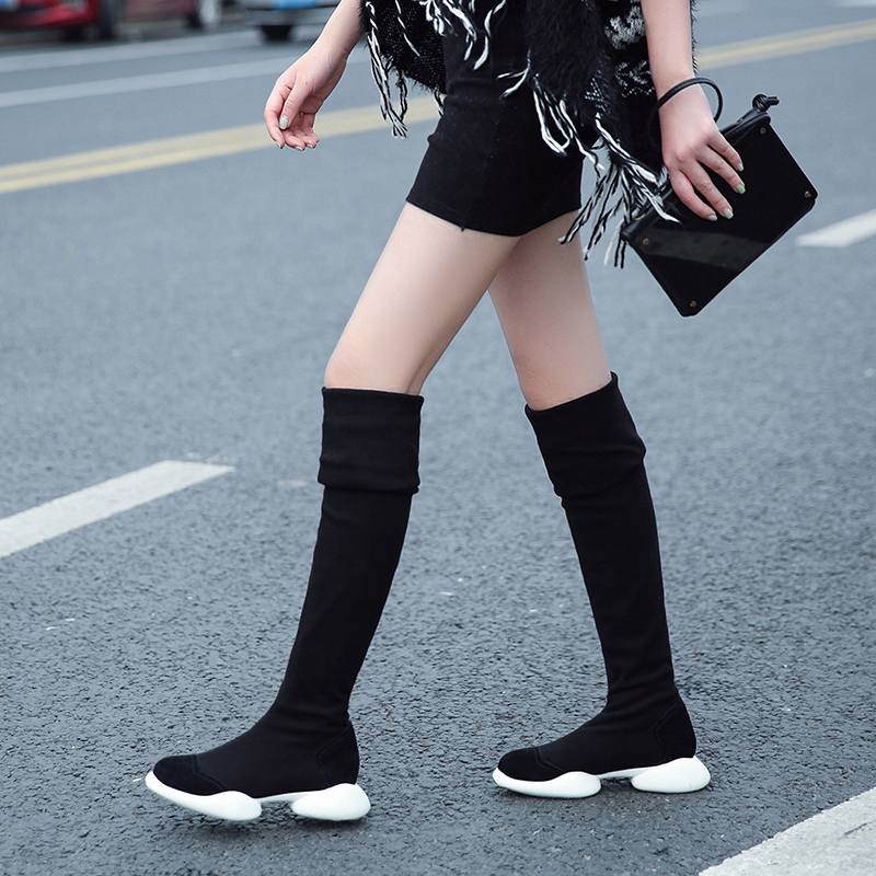 Women's Autumn Slip-on Stretch Over The Knee Boots Brand Designer Slim Leisure Long Boots High Quality Female Footwear Shoes Hot slip on winter boots stretch lycra
