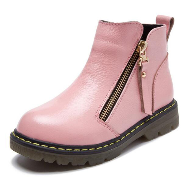 Boys Girls Boots 2018 Winter Platform Kids Ankle Boot High quality genuine leather Child Shoes for girl boy Rubber Fashion Boots