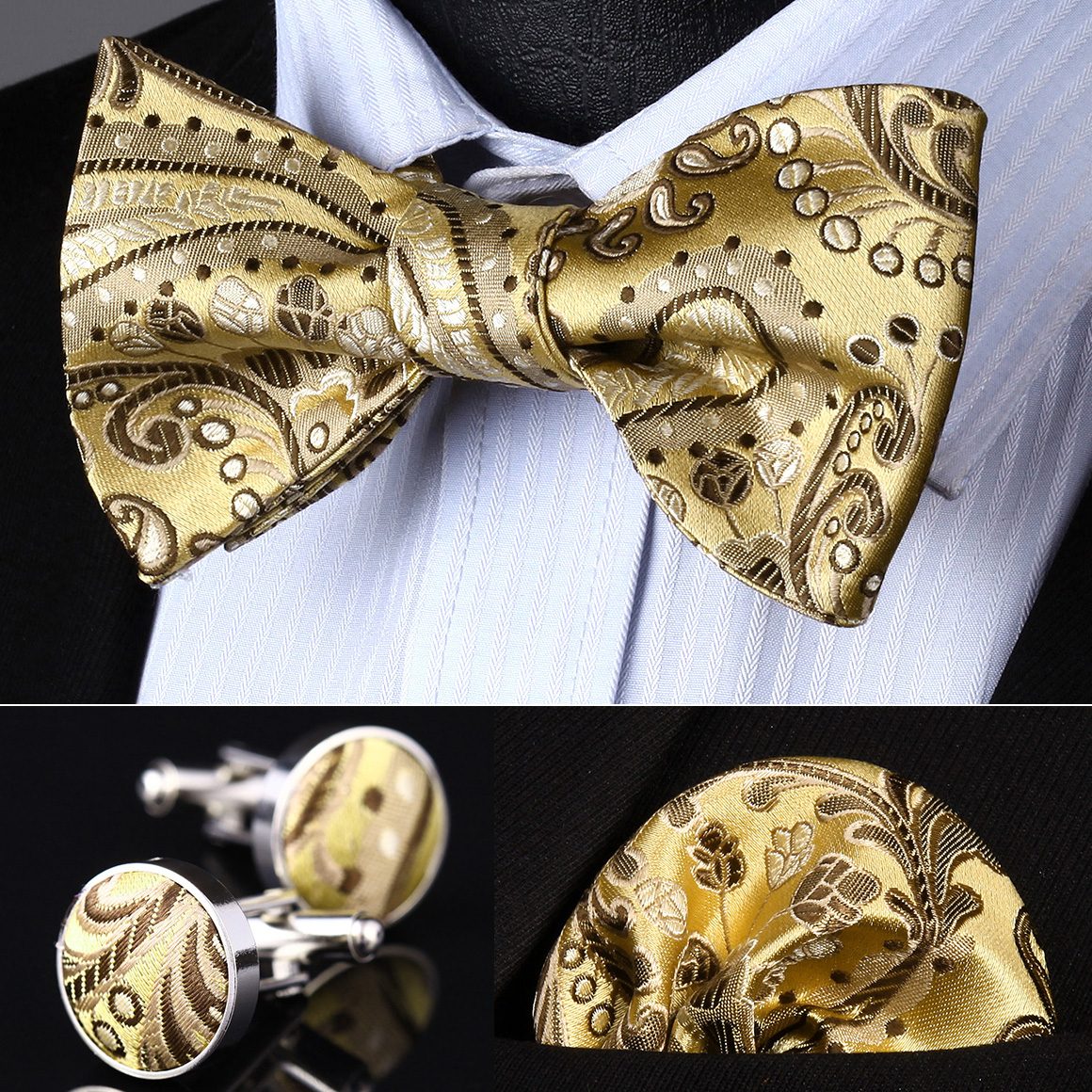 Mens Bowties Black Paisley Silk Bow Tie Hankerchief Cufflinks Set Wedding Party