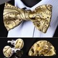 BZP11D Gold Brown Paisley Men Silk Self Bow Tie handkerchief Cufflinks set Pocket Square Classic Party Wedding