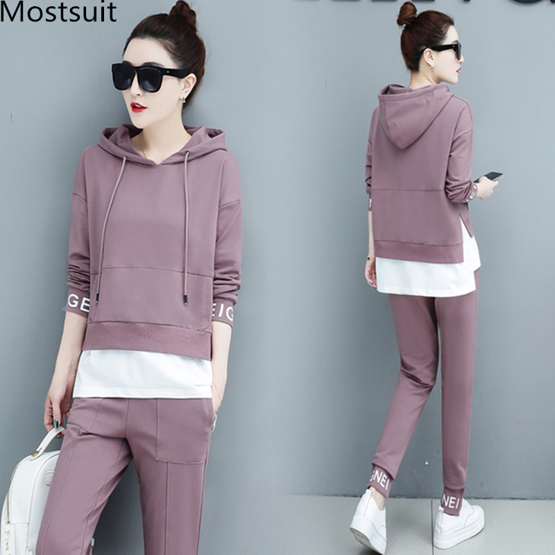 Autumn Sport Two Piece Sets Tracksuits Outfits Women Plus Size Hooded Sweatshirts And Pants Korean Casual Fashion Matching Sets 45