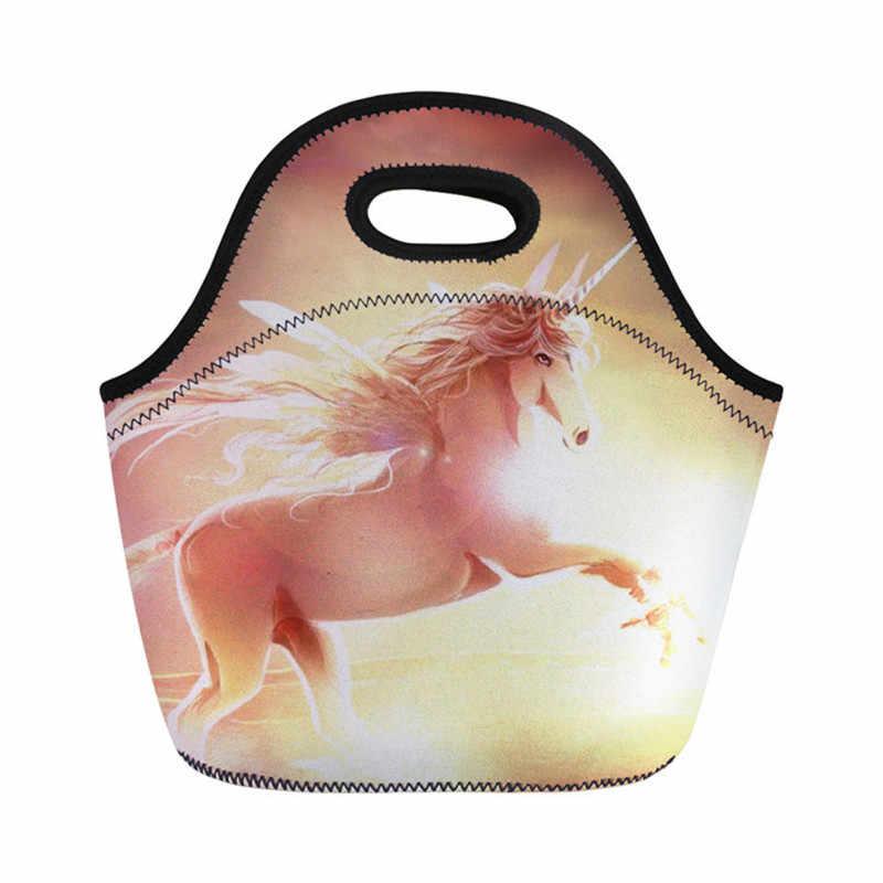 3D Cute Cartoon Print Horse Lunch Bags For Women Kids Men Thermal Bag Lunch Box Food Picnic Bags Travel Handbags High Capacity