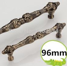 length 123mm hole pitch 96mm antique brass color zinc alloy antique drawer pulls handles