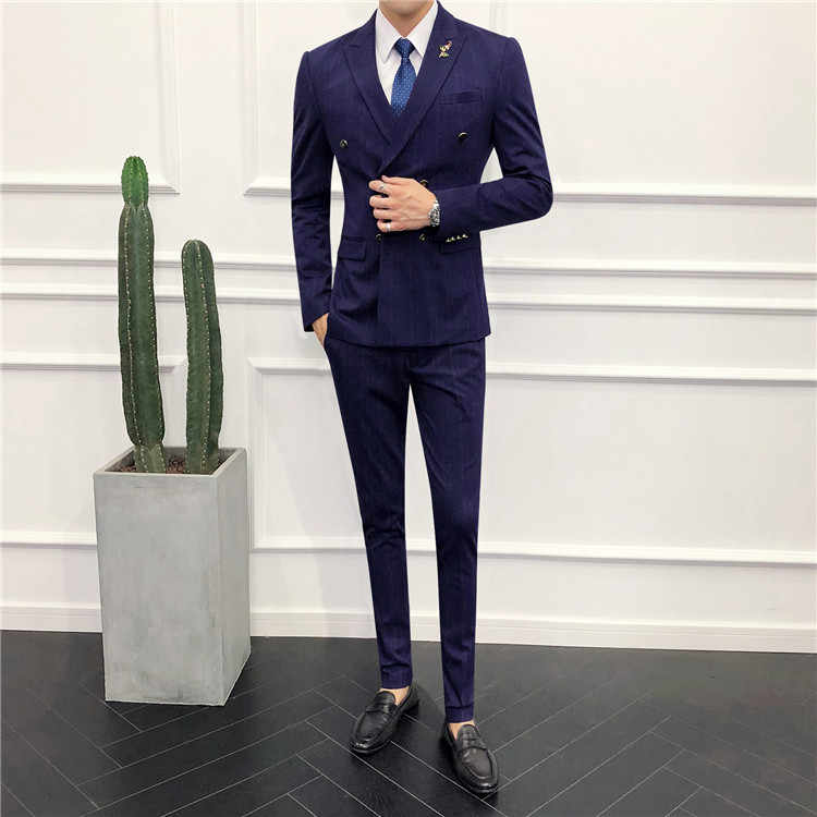TIAN QIONG Brand Mens Double Breasted Striped Suit Fashion 3 Piece Men Suits for Wedding Elegant Man Business Suits Formal