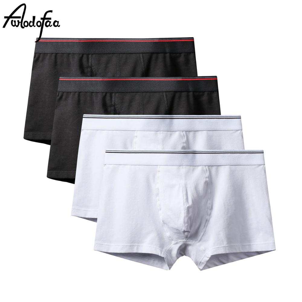 4Pcs/lot Male Fashion Sexy Brand Cotton Men's Large Underwear Flat Shorts Sexy Breathable Mens Seamless Underpant Boxers Shorts