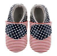 2018 yeni stil altın puantiyeli amerikan bayrağı Hakiki Deri bebek ayakkabı Bebek Yürüyor Kız ve erkek bebek Moccasins ayakkabı 0-18 M