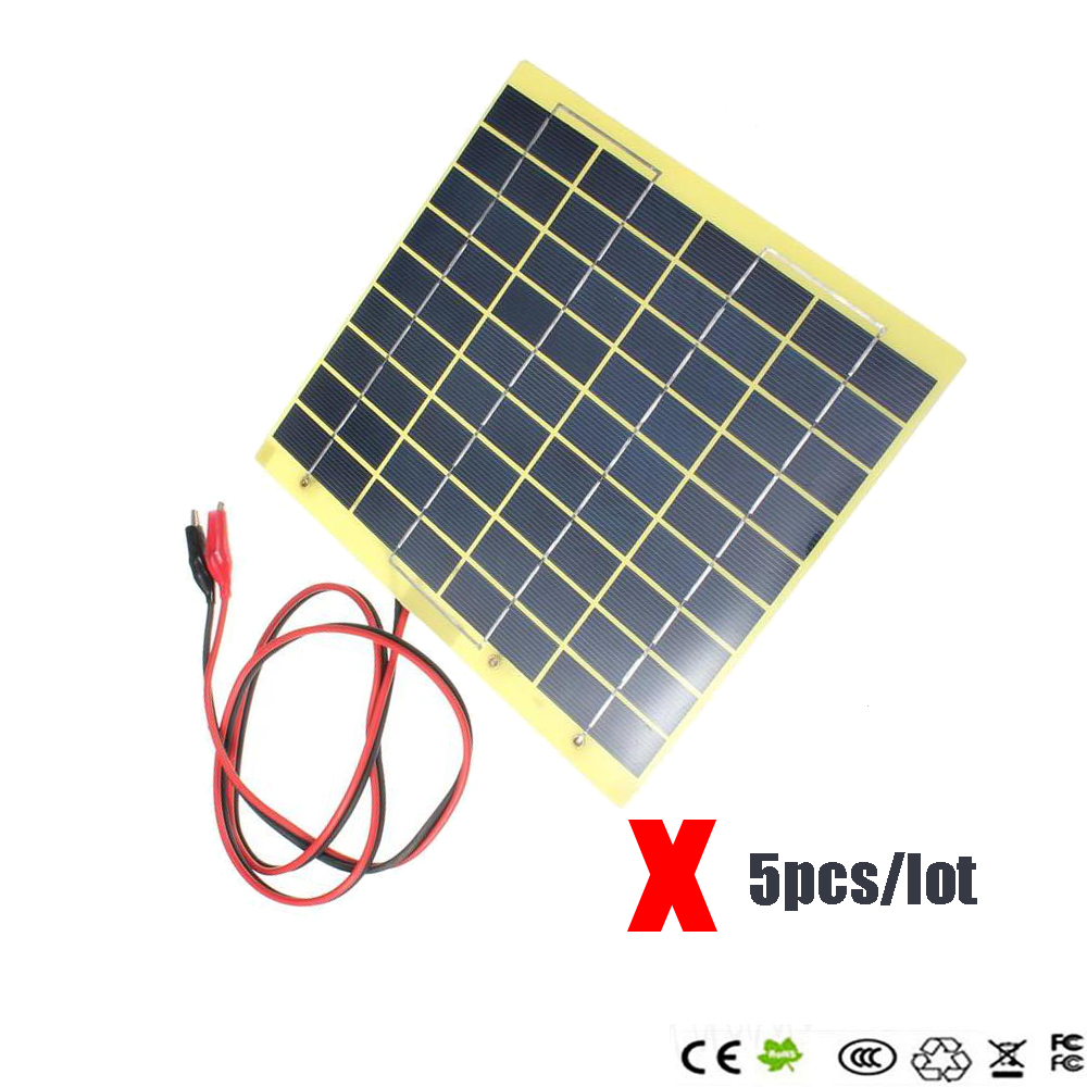 10pcs/lot Hot Sale 18V 5W Polycrystalline Silicon Solar Cell Solar Panel+Crocodile Clip Diy Solar System for Battery Charger