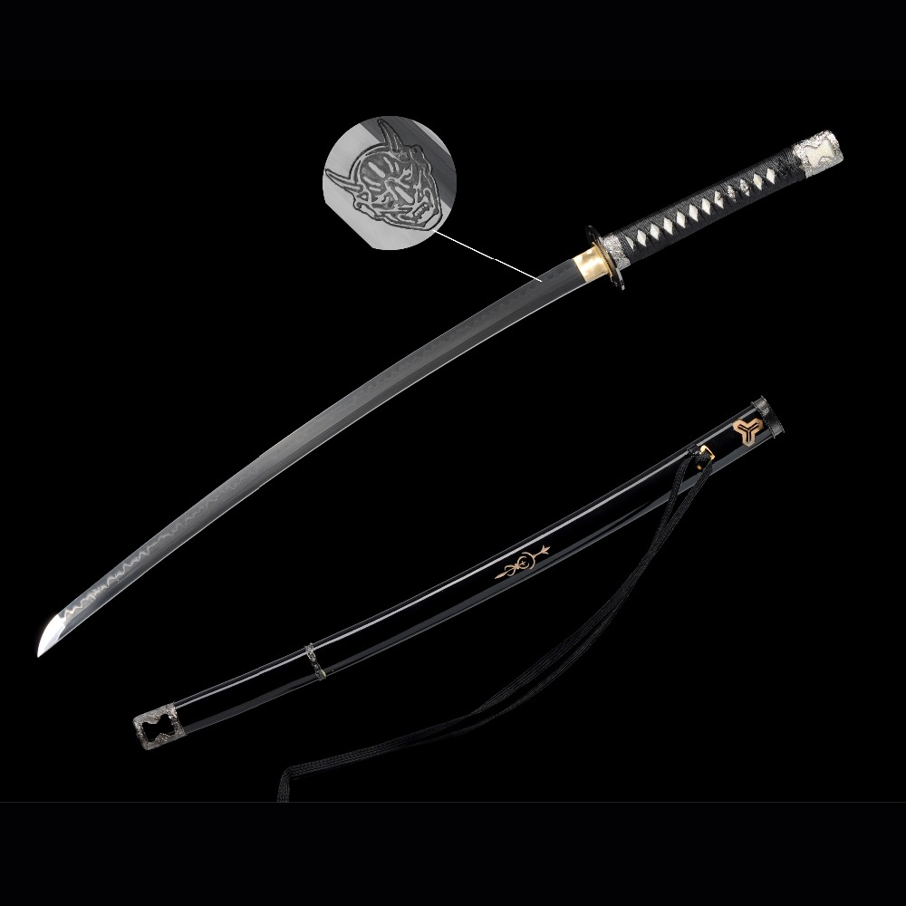 Handmade tv kill bill vol 1 japanese samurai katana sword t10 steel blade real clay craft