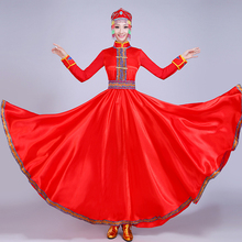 Adult Women Stage Performance Clothing Red Chinese National Clothes Big Size Girl Cosplay Costume Classic Mongolia Dance Dress chinese minority clothing apparel mongolia cashmere clothes dance costume men cosplay costume mongolia gown robe