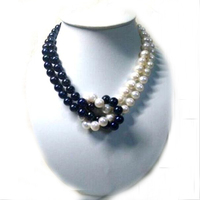 Wedding Woman necklace 18'' 9MM White Black Pearl half mixed Natural Freshwater pearl Necklace Real Pearl Handmade Gift