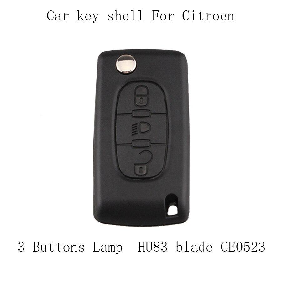 Coque de clé de rechange   20 pièces/lot, 3 boutons de lampe pour Citroen C4 C5 C6 C8 Xsara Picasso housse de clé de voiture à distance, HU83 lame CE0523