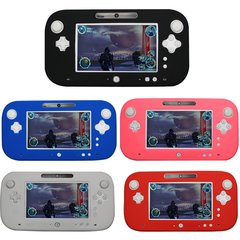 4 färger Ultra Soft Silicone Full Body Protector Gel Fodral Cover Skin Shell För Nintendo För Wii U Gamepad Cover