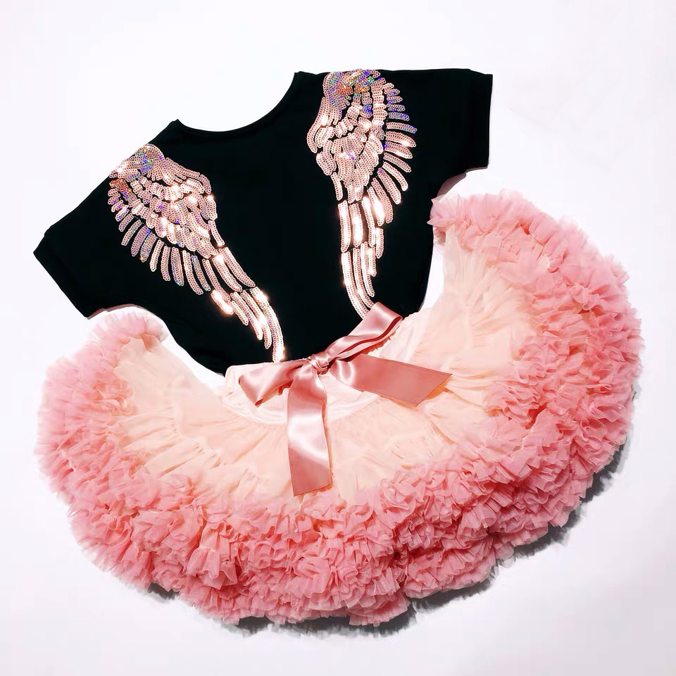 Summer Mother Daughter T Shirt Matching Family Outfits Mummy Girls Dress Matching Outfits Back Sequin Wing 1 To 9 Yrs