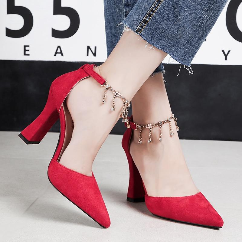 Terciopelo Negro Señora Fetiche Tobillo Bombas Mujeres Suede Sandalias Zapatos De 2018 Alto Verano rojo Metal Cadena Red 8 Tacones marrón Mujer rosado Boda Bloque Correa Cm BvaxPwaqE