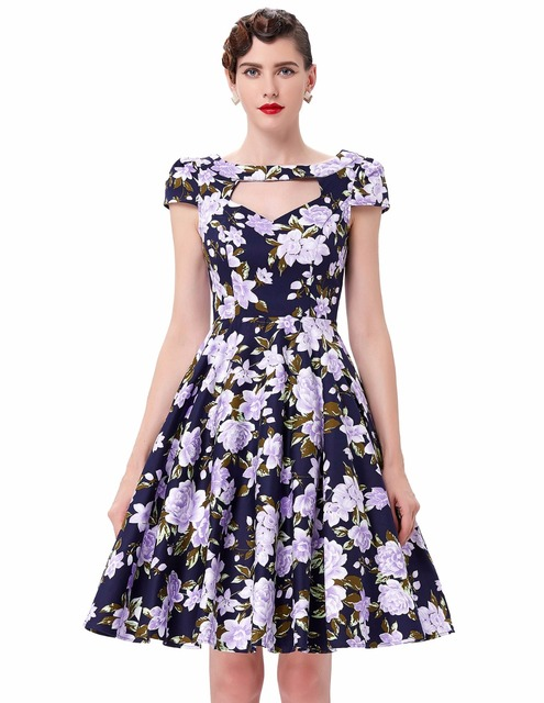 Women dress vestidos print hollowed short sleeve cotton retro vintage party dresses 2016 plus size women 50s rockabilly dresses
