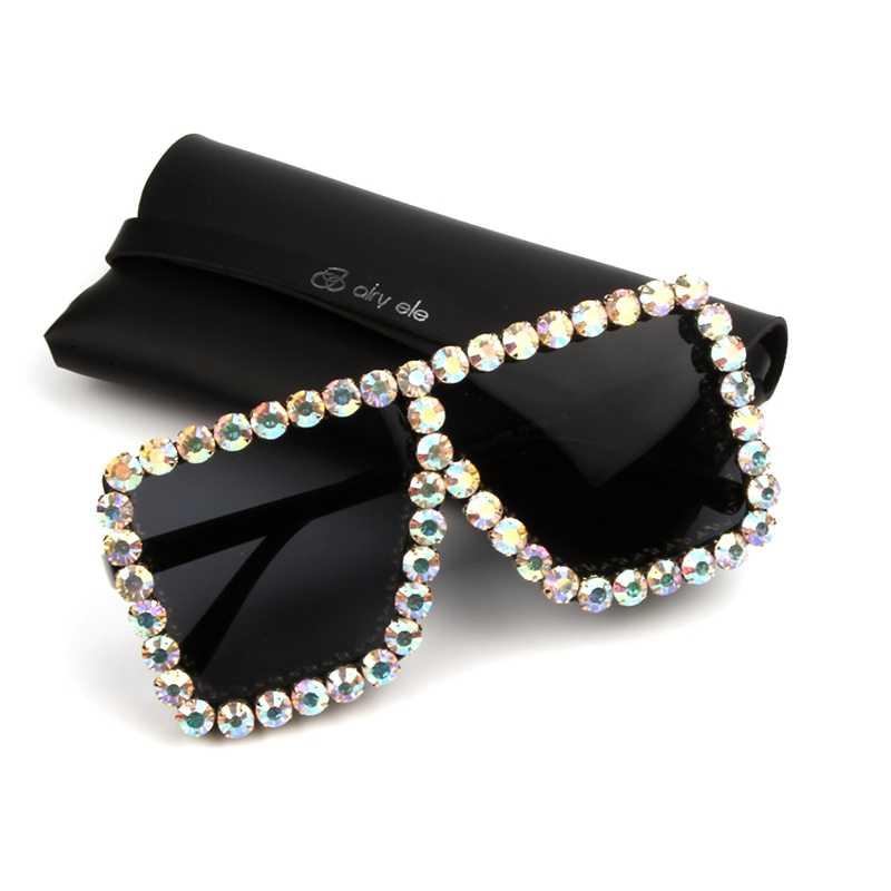 adb24308f7 9 diseño de lujo gafas de sol mujer cuadrado vendimia Bling Rhinestone gafas  de sol para
