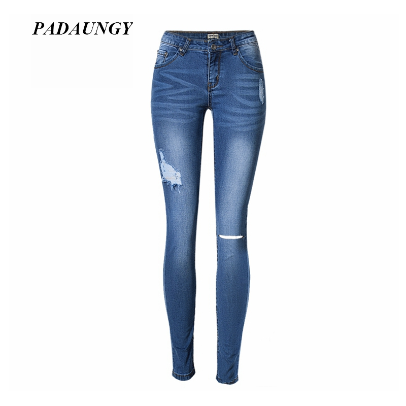 PADAUNGY Pencil Jeans High Waist Ripped Jean Femme Skinny Denim Trousers Plus Size Pantalons Slim Fit Torn Jeggings Women Pants women high waist jeans plus size dark women skinny ripped jeans femme jeggings sexy pantalones tejanos mujer boot cut jeans