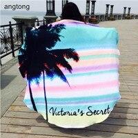 100% cotton diameter 160cm round beach towel Hawaii flavor big colored stripe coconut tree print, soft quick dry beach towel 105