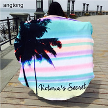 100% cotton diameter 160cm round beach towel Hawaii flavor big colored stripe coconut tree print, soft quick dry beach towel 105 wavy stripe elepant print wall decro beach towel
