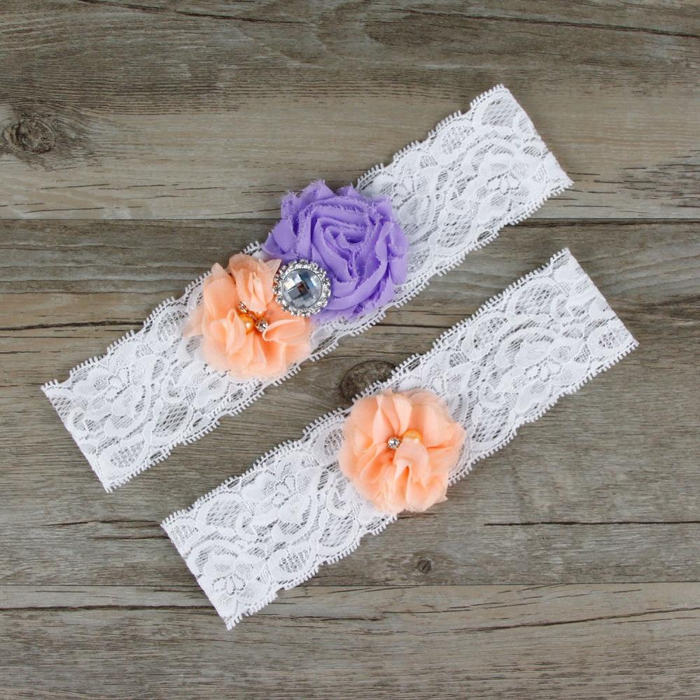 Vintage Lace Wedding Garter Set: 2pcs/Set Bridal Elegant Puff Flowers Beaded Garter Set