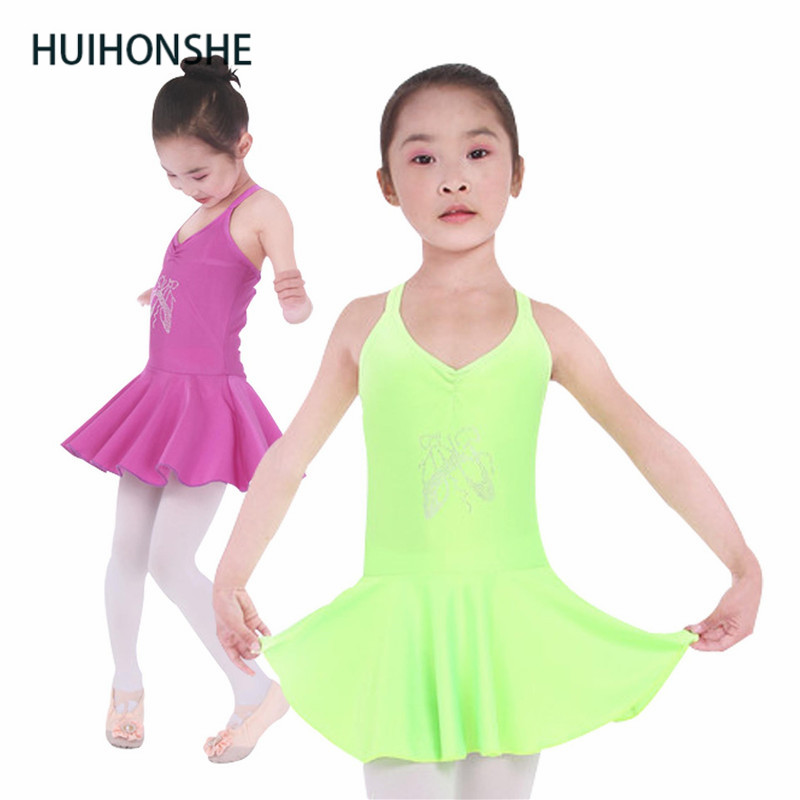 HUIHONSHE 5 Colors Ballet Dress For Children Purple Green Gymnastics Leotard For Girls Pink Dance Wear Rose Blue Kids Dancewear