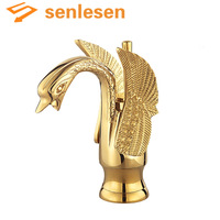 Wholesale And Retail Free Shipping Solid Brass Swan Bathroom Faucet Single Handle Hole Vanity Sink Mixer