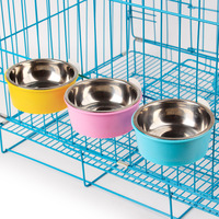 PP Stainless Steel Inner Dog Water Bowl Small Feeder Hanging On Cage Separable Fixed Type Cat