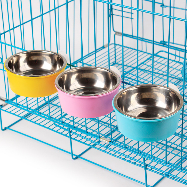 PP Stainless Steel Inner Dog Water Bowl Small Feeder Hanging on Cage Separable Fixed Type Cat Rabbit Dog Bowls Pet Dog Supplies