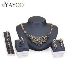Imitation Crystal Jewelry Set Band Gold Color Fashion Wedding Bridal Rhinestone Necklace Earring Sets Bangle Ring