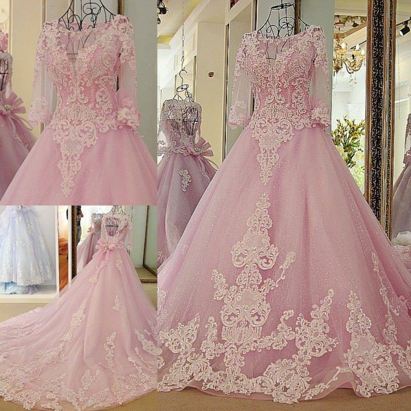 Pink And White Wedding Gowns: Pink Ball Gown Sexy Colorful Wedding Dresses With 3/4