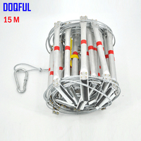 15M Fire Escape Ladder 50FT Folding Steel Wire Rope Ladders Aluminum Alloy Emergency Survival Rescue Safety Antiskid Tools