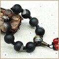 Yumten Vintage Fine Jewellery Black Agate Bracelet Unisex Crystal Matting Ball bracelets For Men Women Anniversary Jewelry Bags