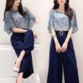 2 de Dos Piezas Mujeres de Corea Caliente Mujer Blusa de La Gasa Tops Pantalones de pierna 2016 Primavera Verano Casual Trajes de Conjuntos de Ropa de Las Mujeres 88005