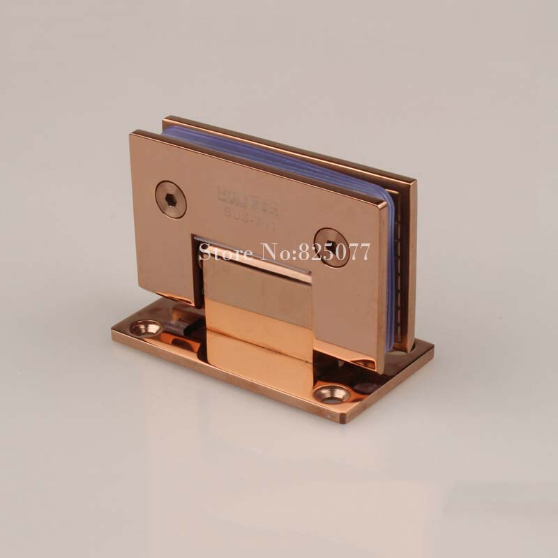 Free shipping High Quality 1PCS Rose Gold 90 Degrees open Stainless Steel 304 Wall Mount Glass Shower Door Hinge HM153