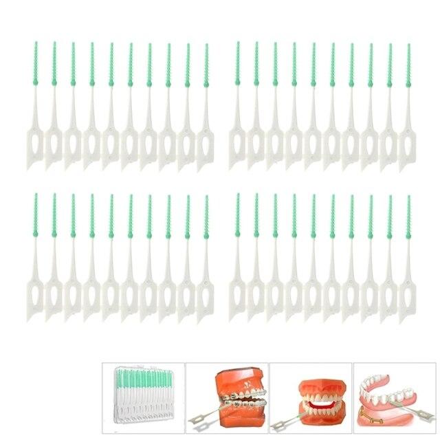 40 piezas adultos cepillos interdentales limpio entre los dientes de la Seda cepillos palillo de dientes cepillo de dientes Dental Oral herramienta de cuidado de hilo Dental