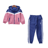 Girl new sports suit Girl sports jacket pants two piece Girls Fashion Stitching Jacket Pants Set Girl hooded sports suit