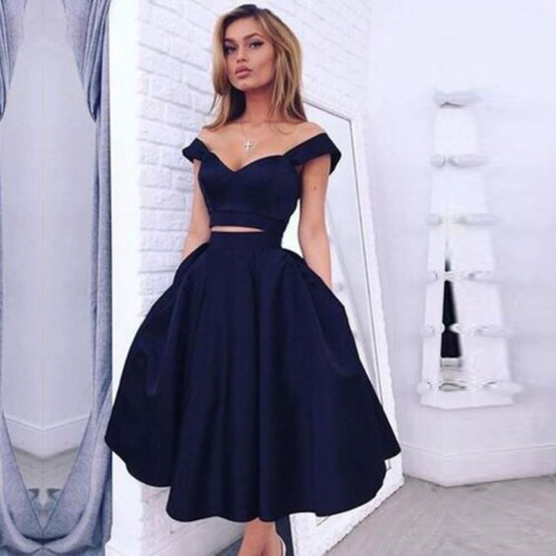 Elegant Navy Blue A Line Sweetheart Satin 2 pieces Cocktail Dress 2017 Formal Tea Length