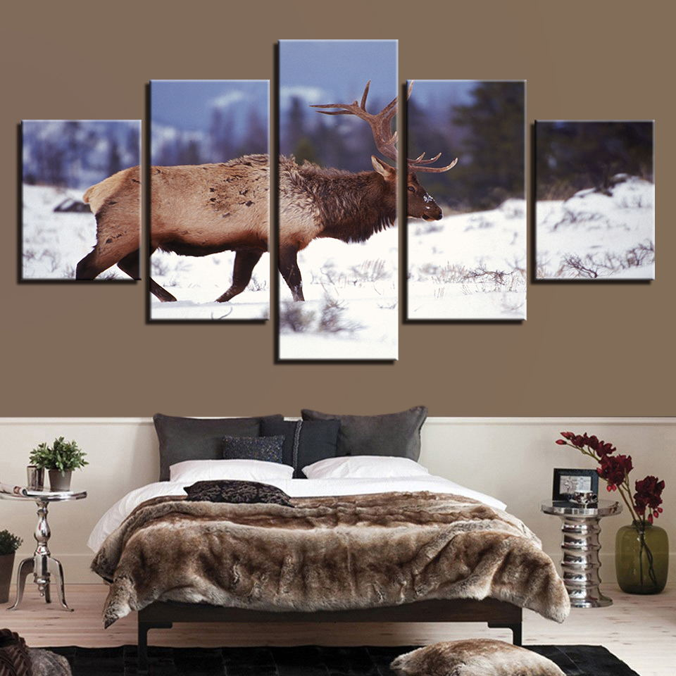 New Style Home Decor Family Canvas 5 Set Spray Painting Deer Forest Scenery Print Wall Art Modular Picture Poster Direct Selling