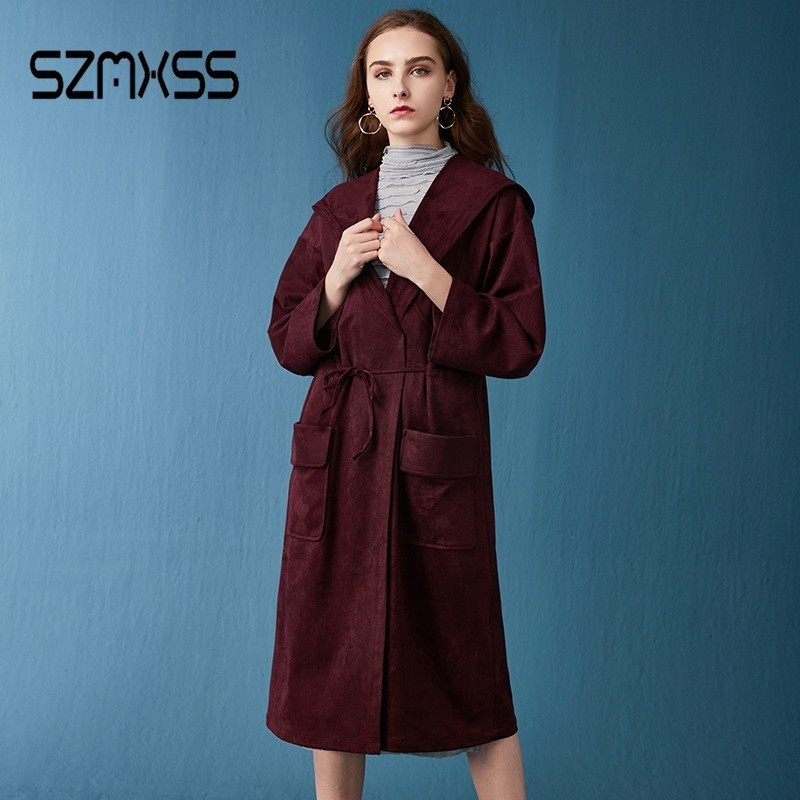 SZMXSS 2018 Fashion Autumn   Trench   Coat Women Hooded Casual Belt Long Windbreaker Casaco Feminino   Trench   Manteau Femme Clothes