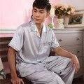 2016 verão de manga curta conjuntos de pijama dos homens 100% algodão xadrez pijamas homewear algodão sleepwear masculino ocasional macio