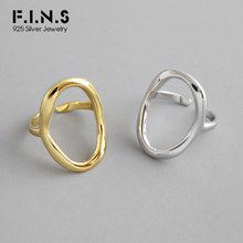 F.I.N.S INS Style Hot Sale Geometric Hollow-Out Finger Ring Personality 925 Sterling Silver Big Adjustable Wedding Party