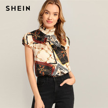 60cf65dccf439 SHEIN Multicolor Chain And Scarf Print Frilled Neck Women Blouses Summer  Stand Collar Short Cap Sleeve Elegant Ladies Tops